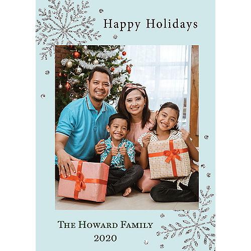 Custom Blue Snowflake Holiday Photo Cards Image #1
