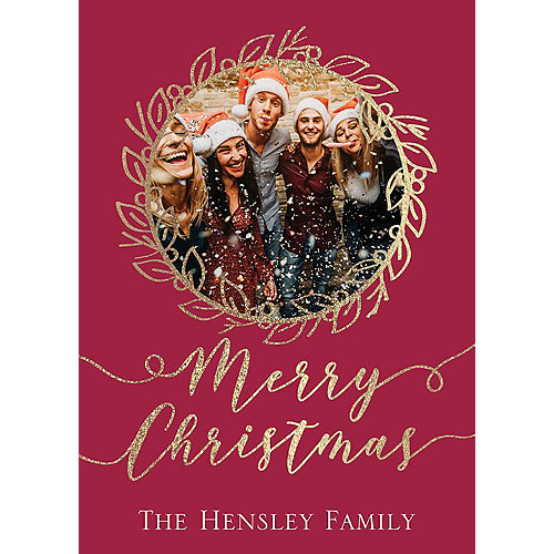 Custom Red Wreath Holiday Photo Cards Image #1