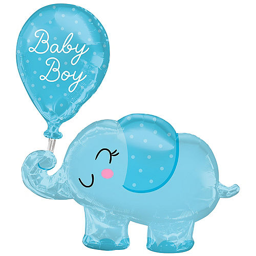 Blue Elephant Baby Boy Foil Balloon, 29in x 31in Image #1