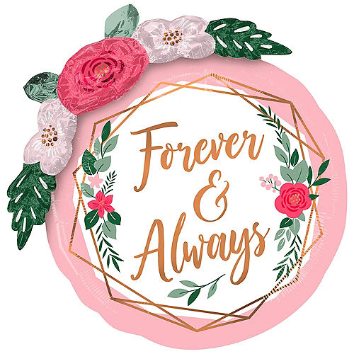 Rose Gold Geometric Floral Garland Forever & Always Foil Balloon, 36in Image #1
