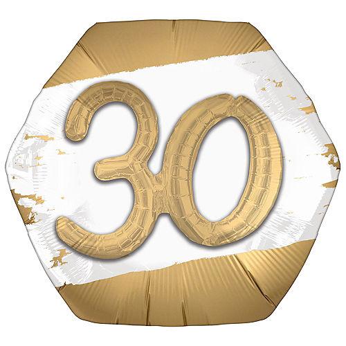 Satin Golden Age Happy 30th Birthday Hexagonal Foil Balloon, 30in x 28in Image #1