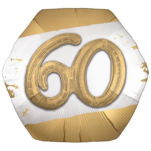 Satin Golden Age Happy 60th Birthday Hexagonal Foil Balloon, 30in x 28in Image #1