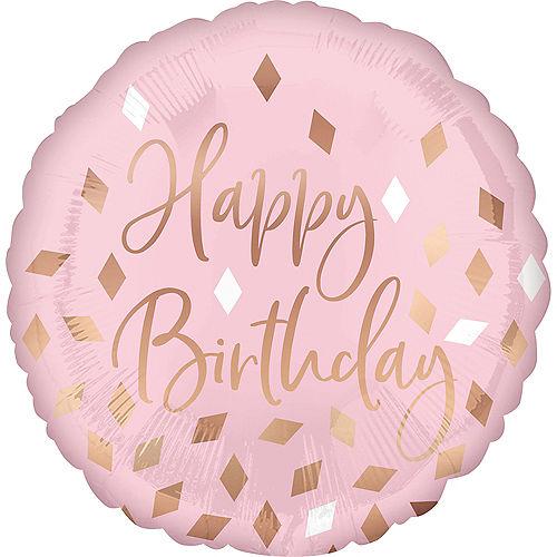 Metallic Blush Happy Birthday Foil Balloon, 18in Image #1