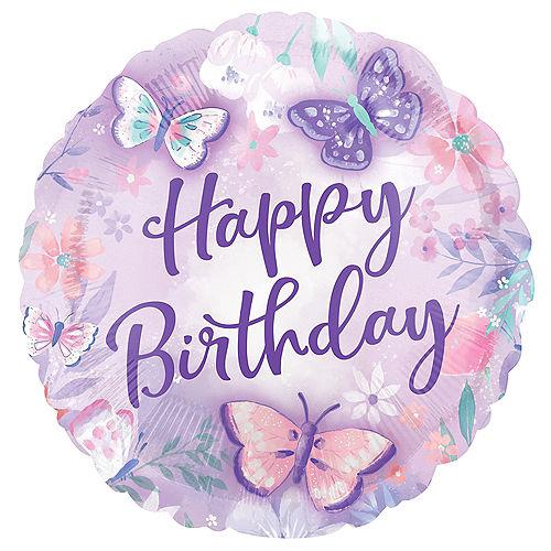 Flutter Butterfly Happy Birthday Foil Balloon, 18in Image #1