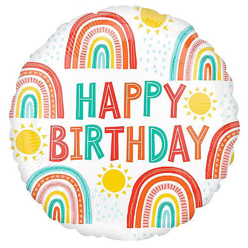 Retro Rainbow Happy Birthday Foil Balloon, 18in Image #1