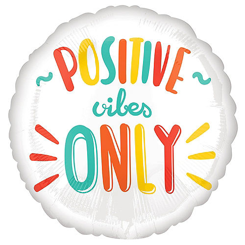 Positive Vibes Only Foil Balloon, 18in - All Smiles Image #1