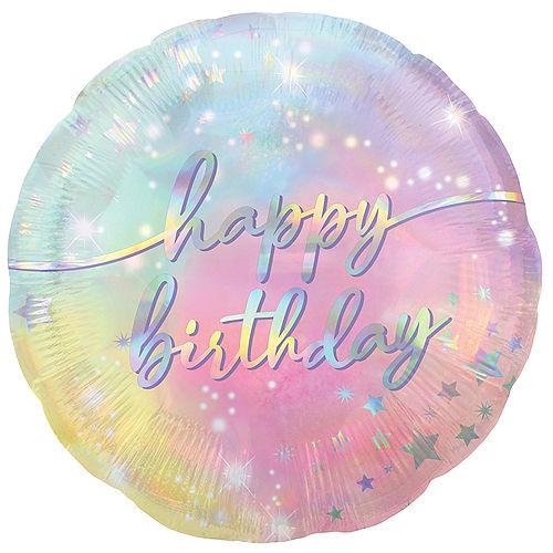 Iridescent Luminous Happy Birthday Foil Balloon, 18in Image #1