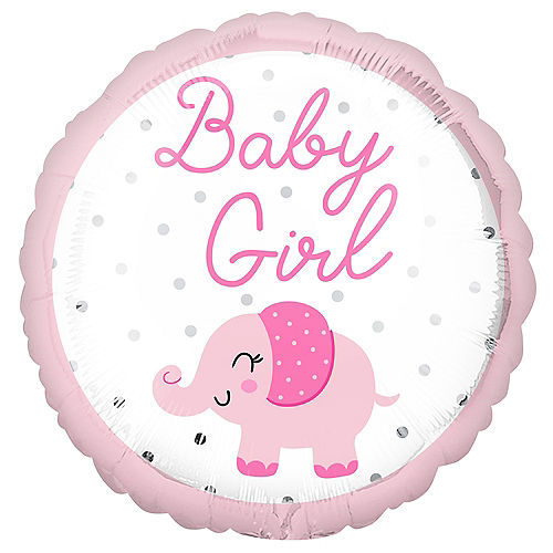 Pink Elephant Baby Girl Foil Balloon, 18in Image #1