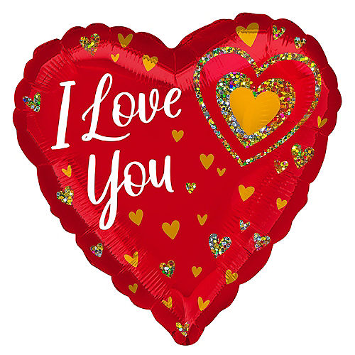 Red & Gold I Love You Heart Foil Balloon, 28in Image #1