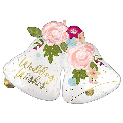 Satin Floral Wedding Bell Foil Balloon, 33in x 24in Image #1