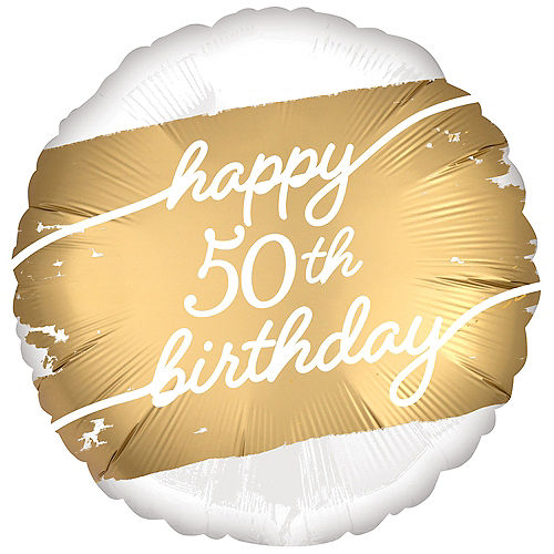 Satin Golden Age Happy 50th Birthday Foil Balloon, 18in Image #1