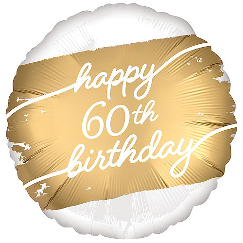 Satin Golden Age Happy 60th Birthday Foil Balloon, 18in Image #1