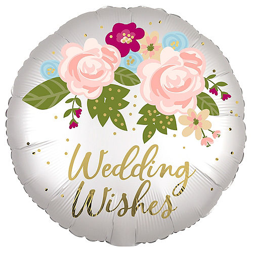 Satin Floral Wedding Wishes Foil Balloon, 18in Image #1