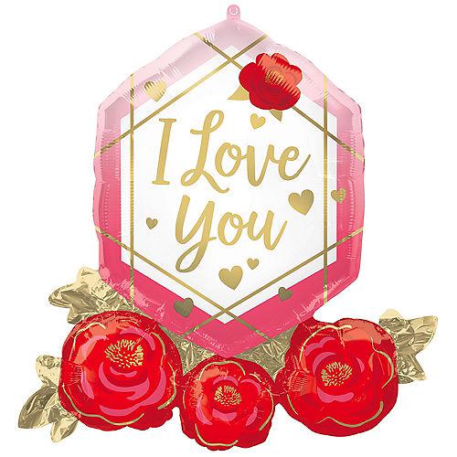 Metallic Gold Geometric & Rose I Love You Foil Balloon, 30in x 28in Image #1