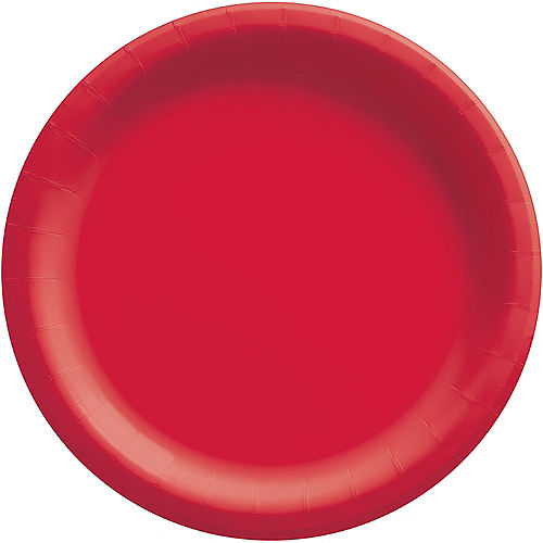 Red Extra Sturdy Paper Dinner Plates, 10in, 50ct Image #1