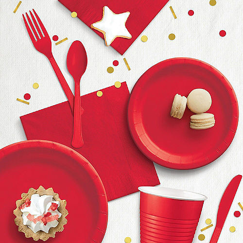 Red Extra Sturdy Paper Dinner Plates, 10in, 50ct Image #2