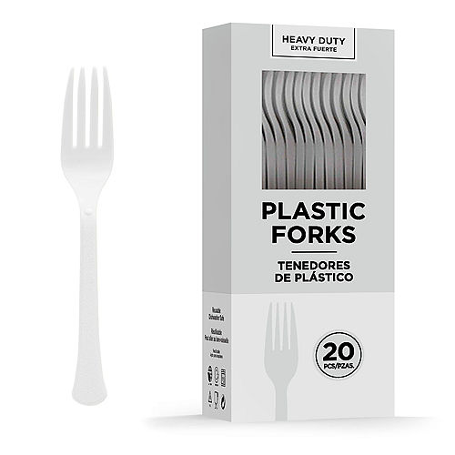 White Heavy-Duty Plastic Forks, 20ct Image #1