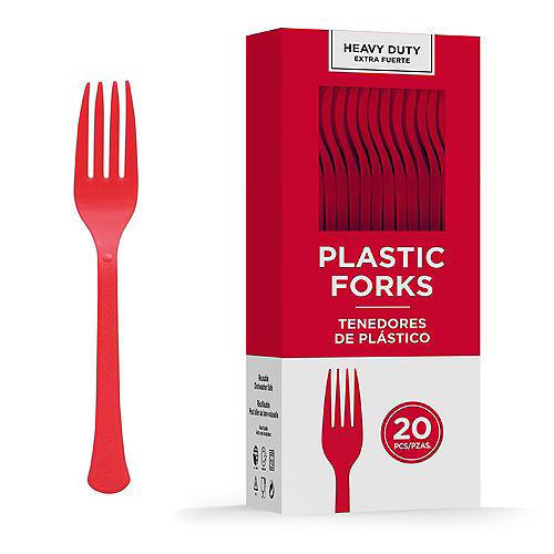Red Heavy-Duty Plastic Forks, 20ct Image #1