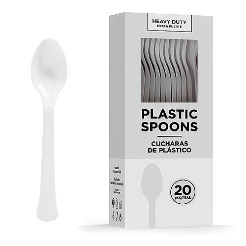 White Heavy-Duty Plastic Spoons, 20ct Image #1