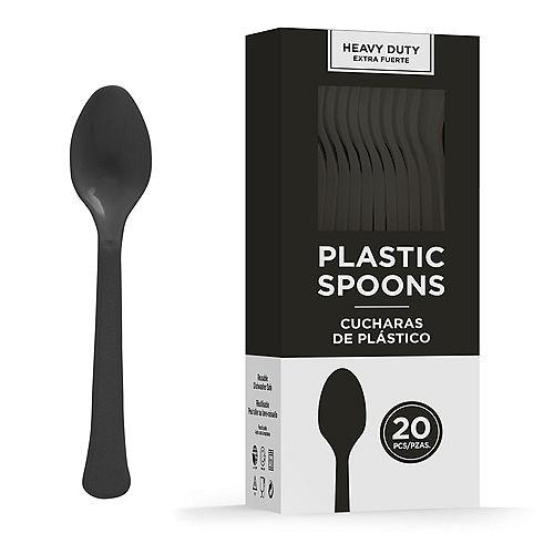Black Heavy-Duty Plastic Spoons, 20ct Image #1