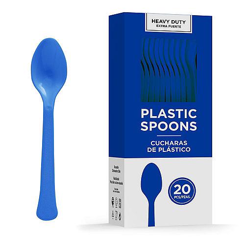 Royal Blue Heavy-Duty Plastic Spoons, 20ct Image #1