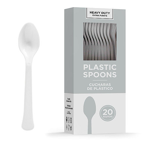 Silver Heavy-Duty Plastic Spoons, 20ct Image #1