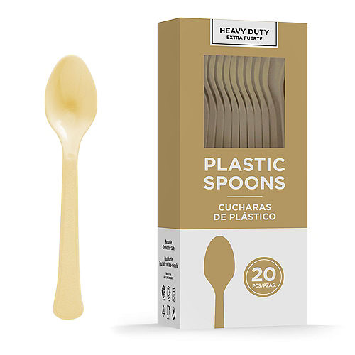 Gold Heavy-Duty Plastic Spoons, 20ct Image #1