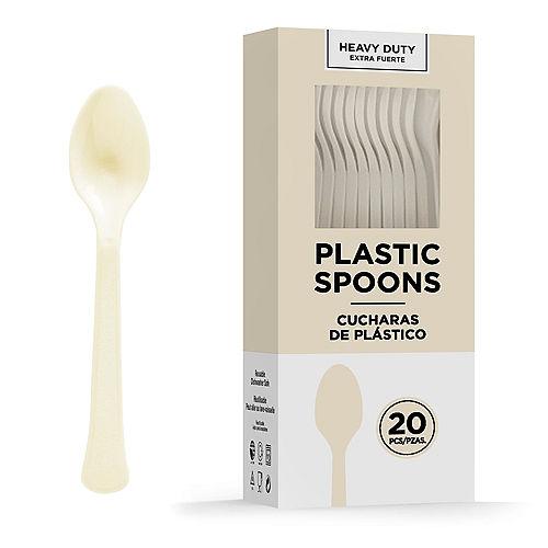 Vanilla Cream Heavy-Duty Plastic Spoons, 20ct Image #1