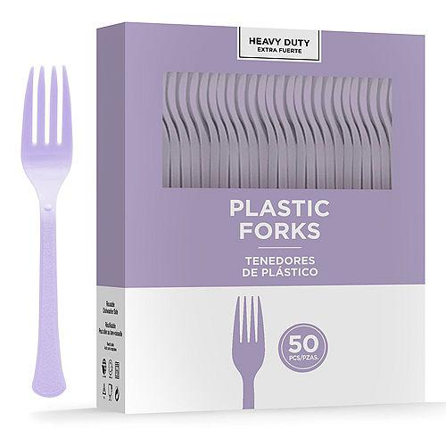 Lavender Heavy-Duty Plastic Forks, 50ct Image #1