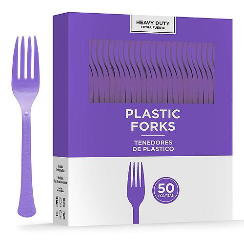 Purple Heavy-Duty Plastic Forks, 50ct Image #1