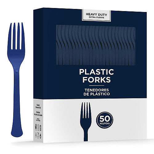 True Navy Heavy-Duty Plastic Forks, 50ct Image #1