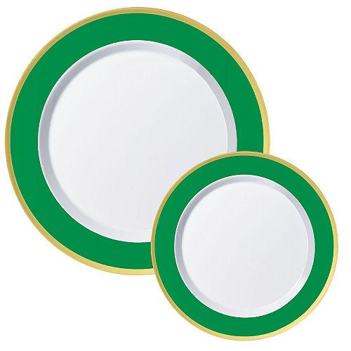 Round Premium Plastic Dinner (10.25in) & Dessert (7.5in) Plates with Festive Green & Gold Border, 20ct Image #1