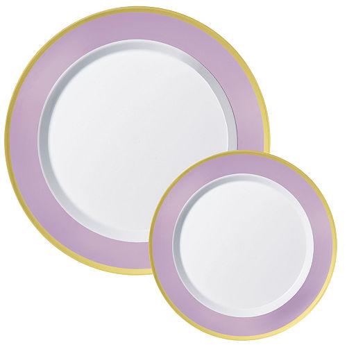 Round Premium Plastic Dinner (10.25in) & Dessert (7.5in) Plates with Lavender & Gold Border, 20ct Image #1