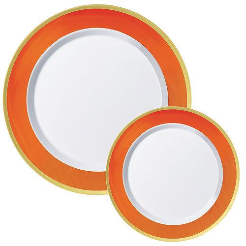 Round Premium Plastic Dinner (10.25in) & Dessert (7.5in) Plates with Orange & Gold Border, 20ct Image #1