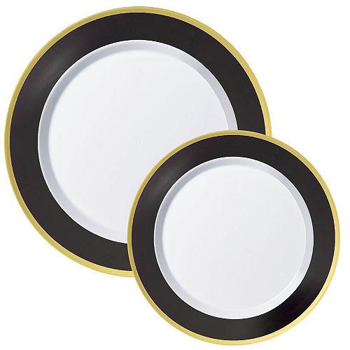 Round Premium Plastic Dinner (10.25in) & Dessert (7.5in) Plates with Black & Gold Border, 20ct Image #1