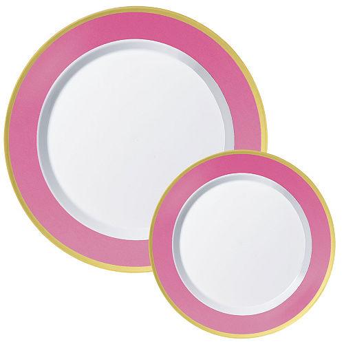 Round Premium Plastic Dinner (10.25in) & Dessert (7.5in) Plates with Bright Pink & Gold Border , 20ct Image #1