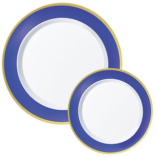 Round Premium Plastic Dinner (10.25in) & Dessert (7.5in) Plates with Royal Blue & Gold Border, 20ct Image #1