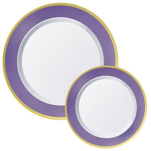 Round Premium Plastic Dinner (10.25in) & Dessert (7.5in) Plates with Purple & Gold Border, 20ct Image #1