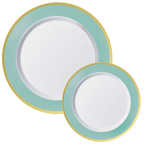 Round Premium Plastic Dinner (10.25in) & Dessert (7.5in) Plates with Robin's Egg Blue & Gold Border, 20ct Image #1