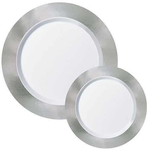 Round Premium Plastic Dinner (10.25in) & Dessert (7.5in) Plates with Silver Border, 20ct Image #1