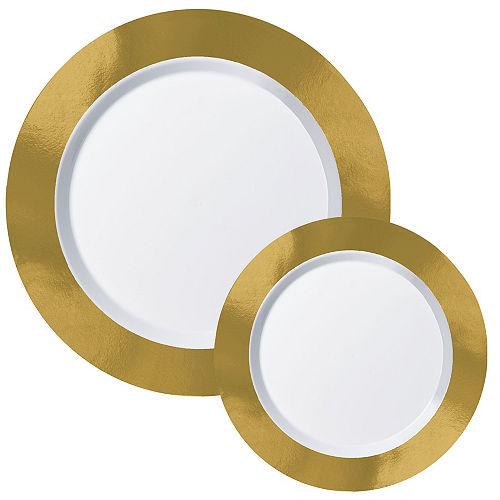 Round Premium Plastic Dinner (10.25in) & Dessert (7.5in) Plates with Gold Border, 20ct Image #1
