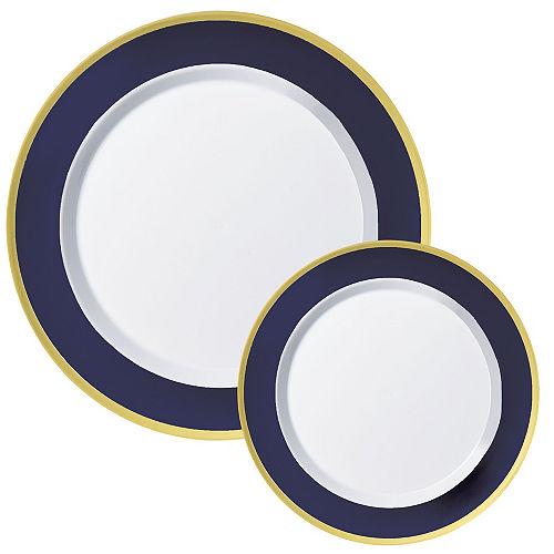 Round Premium Plastic Dinner (10.25in) & Dessert (7.5in) Plates with True Navy & Gold Border, 20ct Image #1