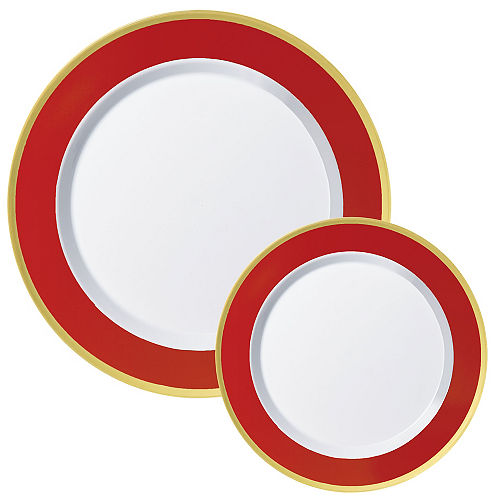 Round Premium Plastic Dinner (10.25in) & Dessert (7.5in) Plates with Red & Gold Border, 20ct Image #1