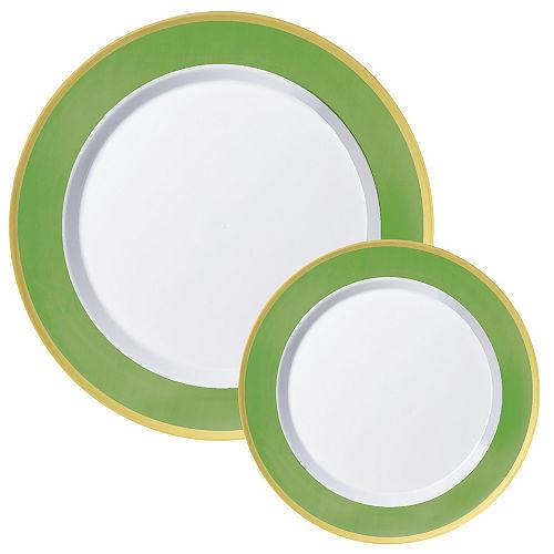 Round Premium Plastic Dinner (10.25in) & Dessert (7.5in) Plates with Kiwi Green & Gold Border, 20ct Image #1
