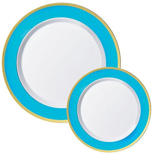 Round Premium Plastic Dinner (10.25in) & Dessert (7.5in) Plates with Caribbean Blue & Gold Border, 20ct Image #1