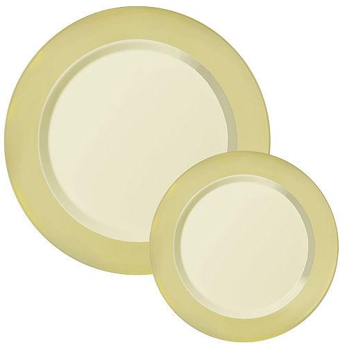 Vanilla Cream Round Premium Plastic Dinner (10.25in) & Dessert (7.5in) Plates with Gold Border, 20ct Image #1
