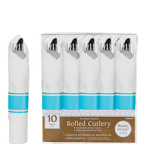 Rolled Metallic Silver Premium Plastic Cutlery Sets, 10ct - Caribbean Blue Band Image #1