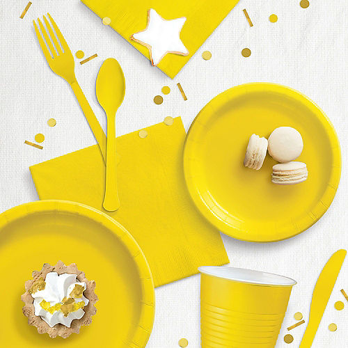 Yellow Extra Sturdy Paper Dinner Plates, 10in, 20ct Image #2