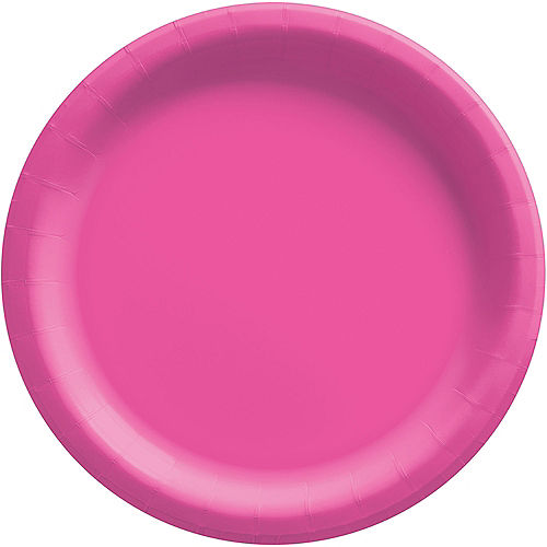 Bright Pink Extra Sturdy Paper Dinner Plates, 10in, 20ct Image #1