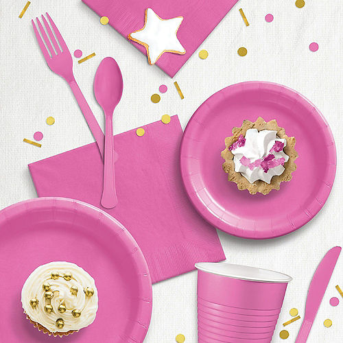 Bright Pink Extra Sturdy Paper Dinner Plates, 10in, 20ct Image #2